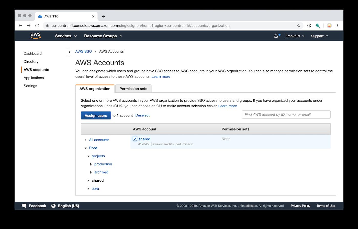 AWS Single Sign-On Permission Set und AWS Account Zuordnung