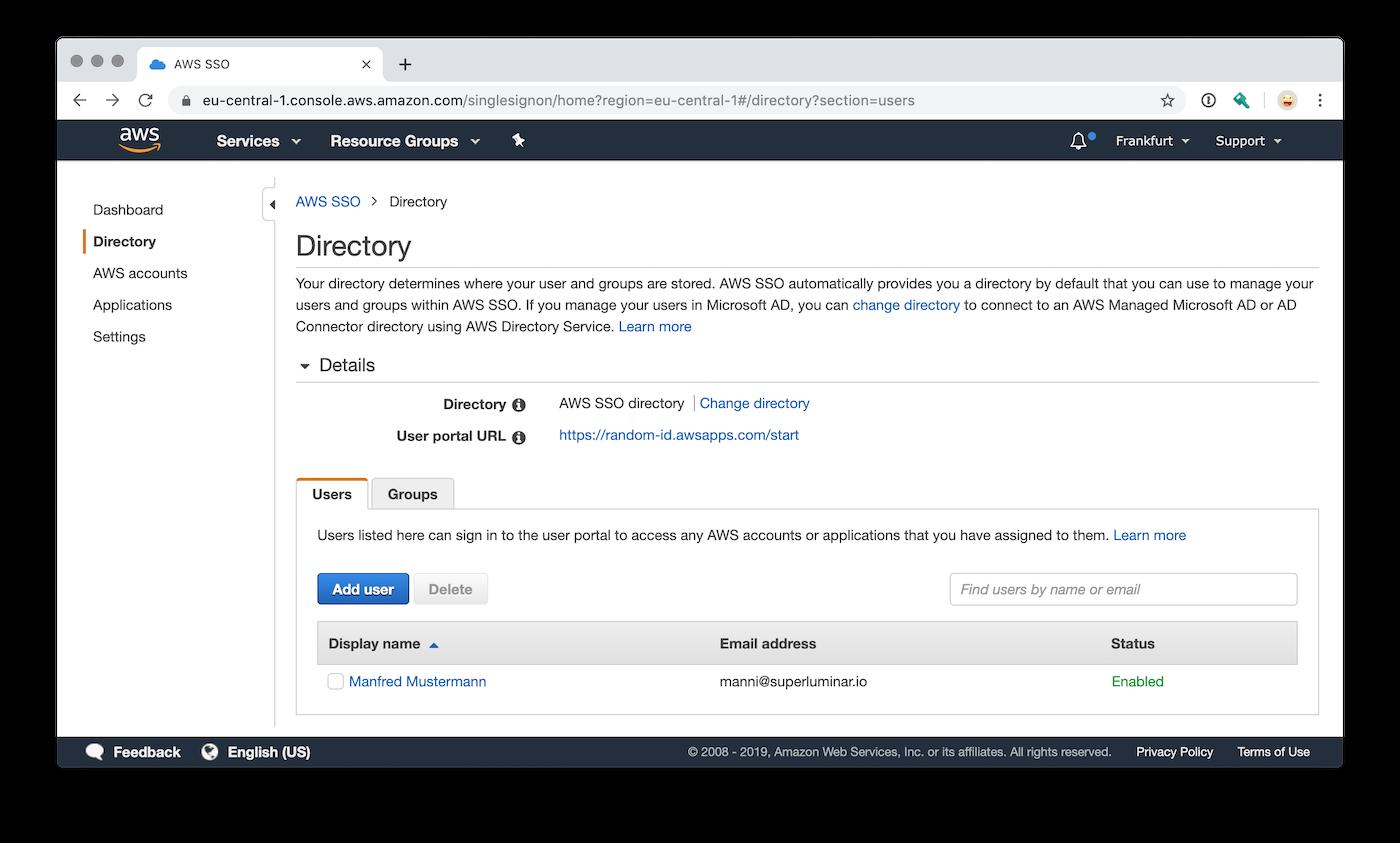 AWS Single Sign-On Benutzerverwaltung mit Useraccounts und Gruppen
