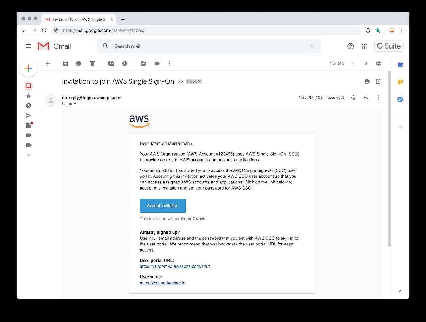 AWS Single Sign-On E-Mail mit Link zur Einladung