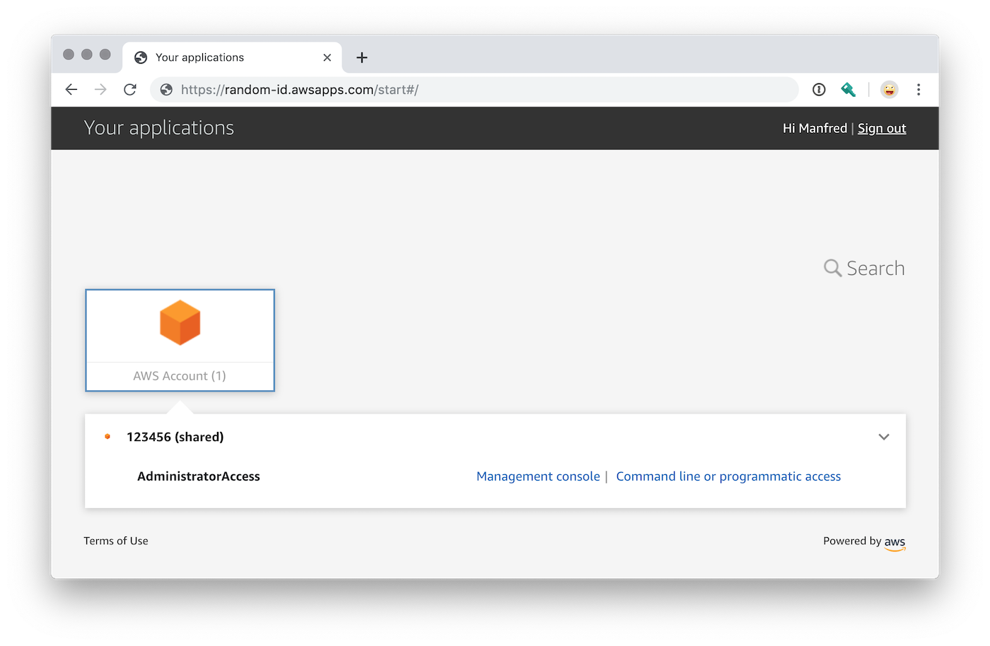 AWS Single Sign-On Login Webseite