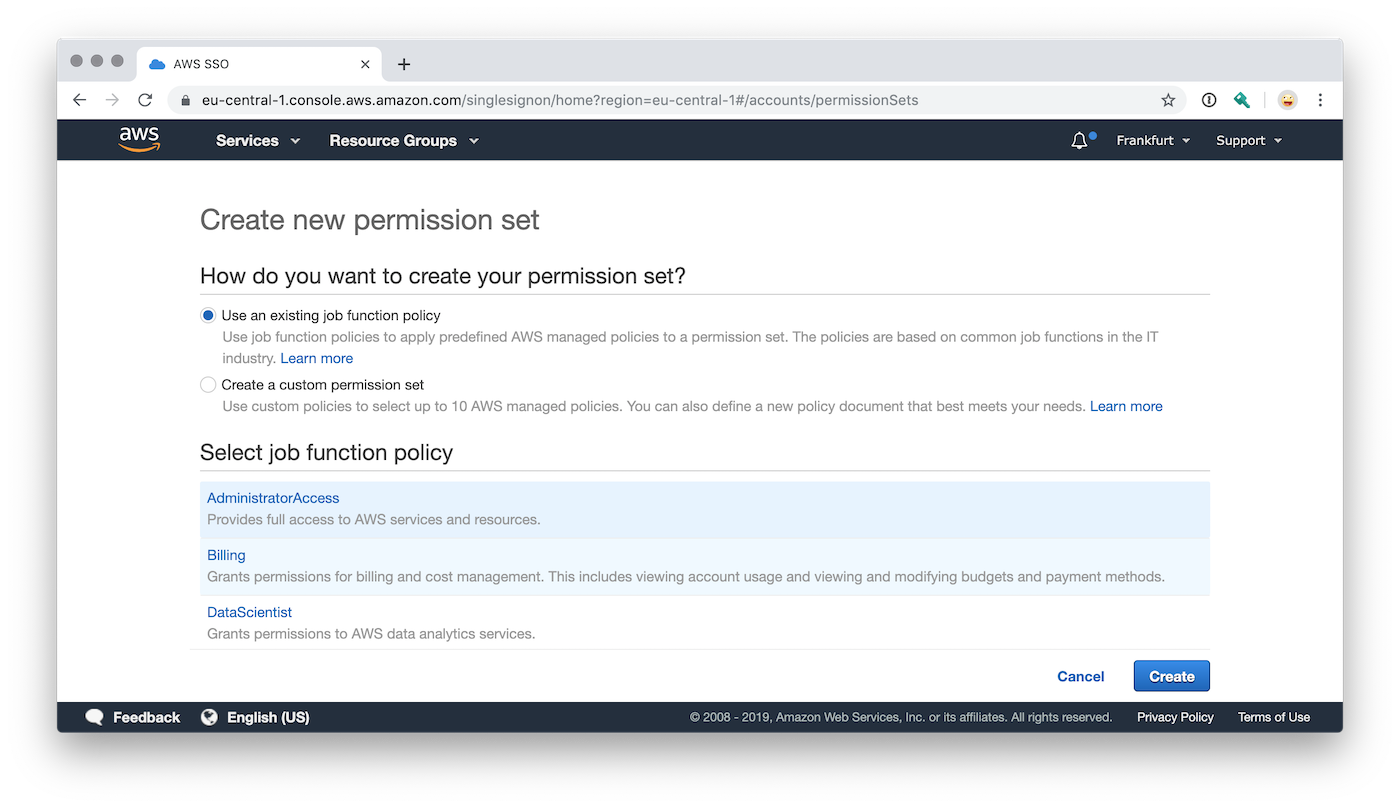 AWS Single Sign-On Permission Set Auswahl der IAM Policy