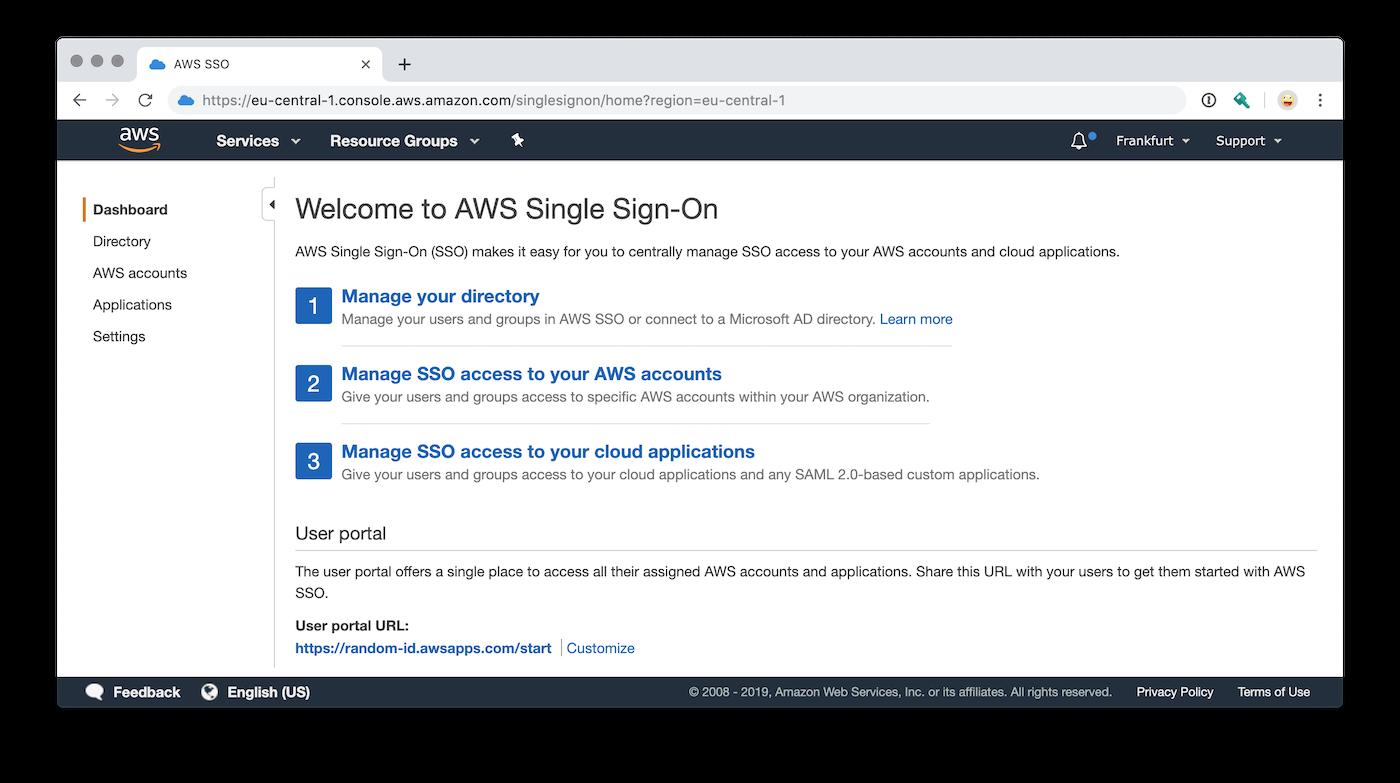 AWS Single Sign-On Startseite nach Aktivierung