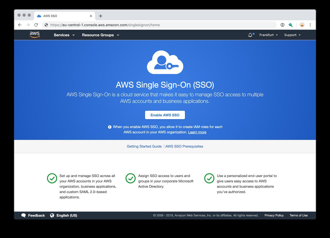 AWS Single Sign-On Willkommensseite vor der Aktivierung
